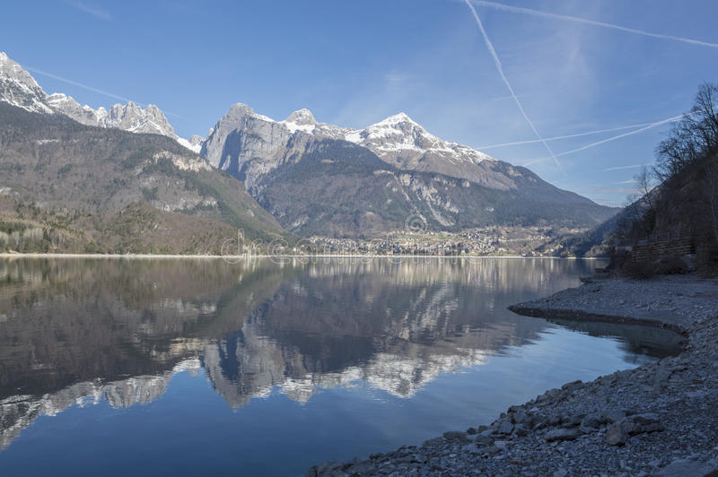 Molveno lake stock images