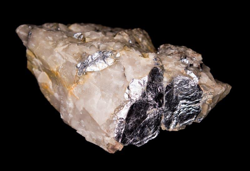 Molybdenite Op Kwarts Royalty-vrije Stock Afbeelding