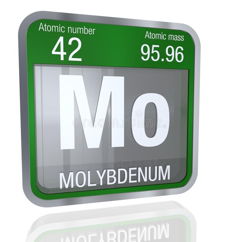 Molybdenum symbol in square shape with metallic border and transparent background with reflection on the floor. 3D render. vector illustration