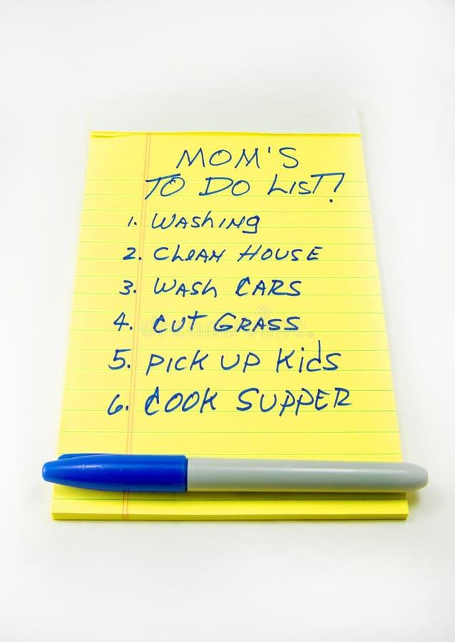 Mom's pour faire la liste images libres de droits