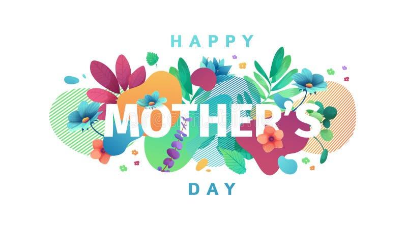 Σύγχρονο σχέδιο προτύπων για το έμβλημα ημέρας Mom Σχεδιάγραμμα προώθησης για την προσφορά ημέρας της μητέρας με τη διακόσμηση λο απεικόνιση αποθεμάτων