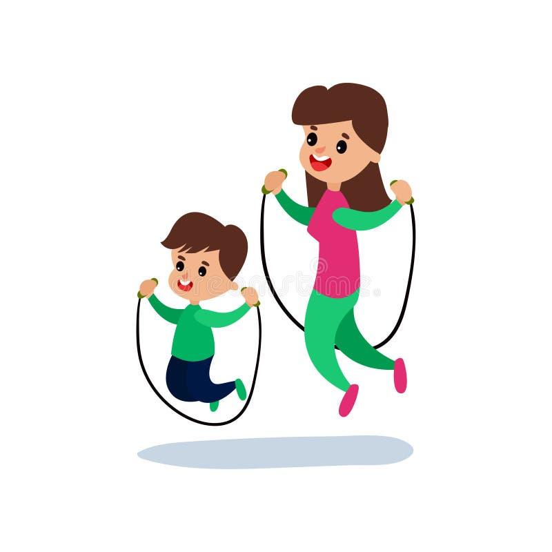 Mom και γιος που πηδούν με το πηδώντας σχοινί μαζί, την αθλητική οικογένεια και τη σωματική δραστηριότητα με τη διανυσματική απει διανυσματική απεικόνιση