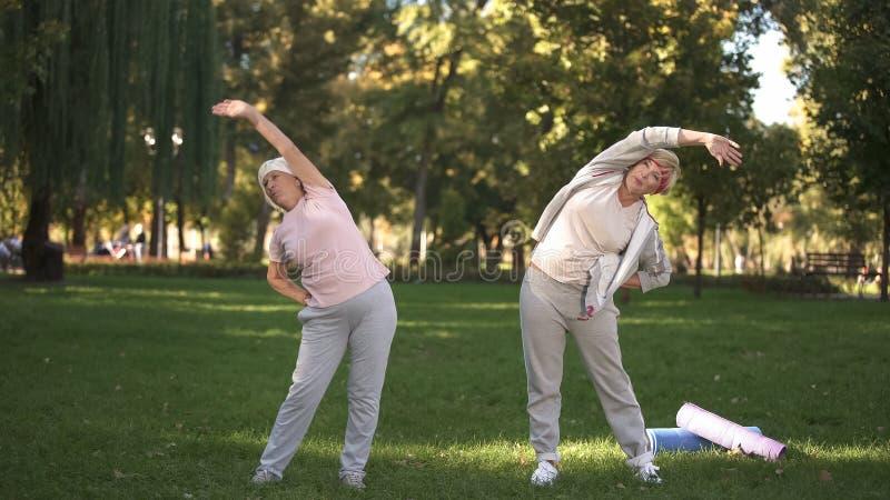 Mom και η κόρη της που κάνουν workout στο πάρκο, υγιής τρόπος ζωής στα γηρατειά στοκ φωτογραφία με δικαίωμα ελεύθερης χρήσης