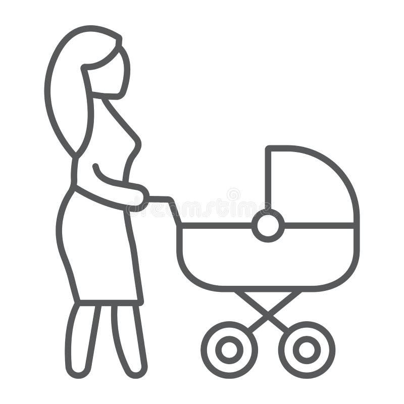Mom με το λεπτό εικονίδιο γραμμών μεταφορών, προσοχή και παιδί, γυναίκα με το σημάδι καροτσακιών, διανυσματική γραφική παράσταση, διανυσματική απεικόνιση