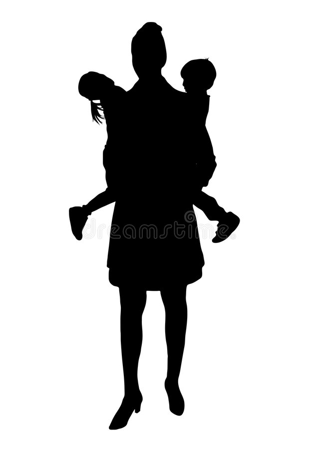 Mom 2. Silhouette of mother with children royalty free illustration