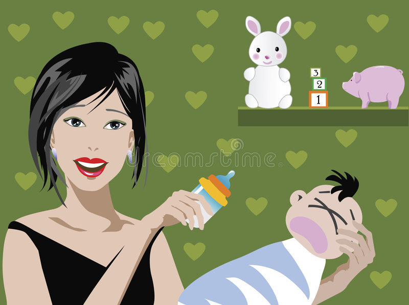 Mom and baby stock illustration