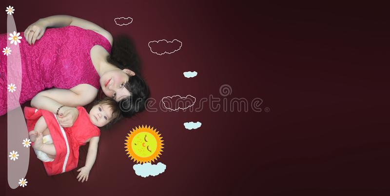 Mom and baby. children`s dreams. a glade royalty free stock images