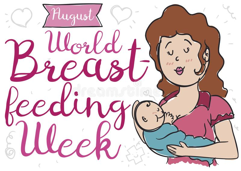 Mom and Baby in Doodle Style for World Breastfeeding Week, Vector Illustration. Lovely mom and baby over a background with hearts, streamer and cross doodles to stock illustration