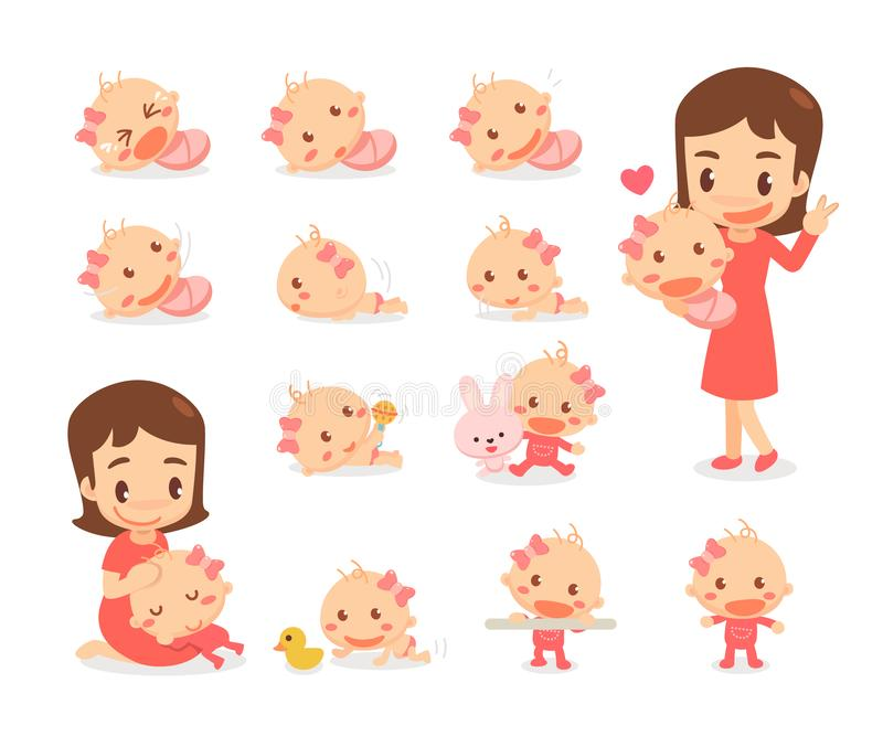Mom and baby girl. Baby development stages. Baby milestones. Exploration vector illustration