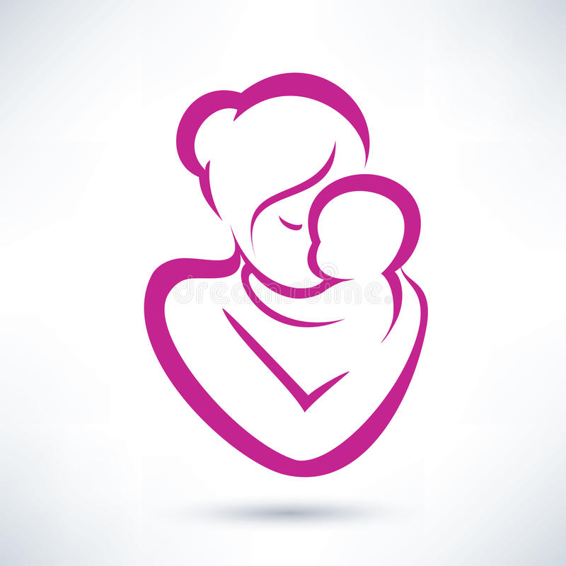 Mom and baby icon royalty free illustration
