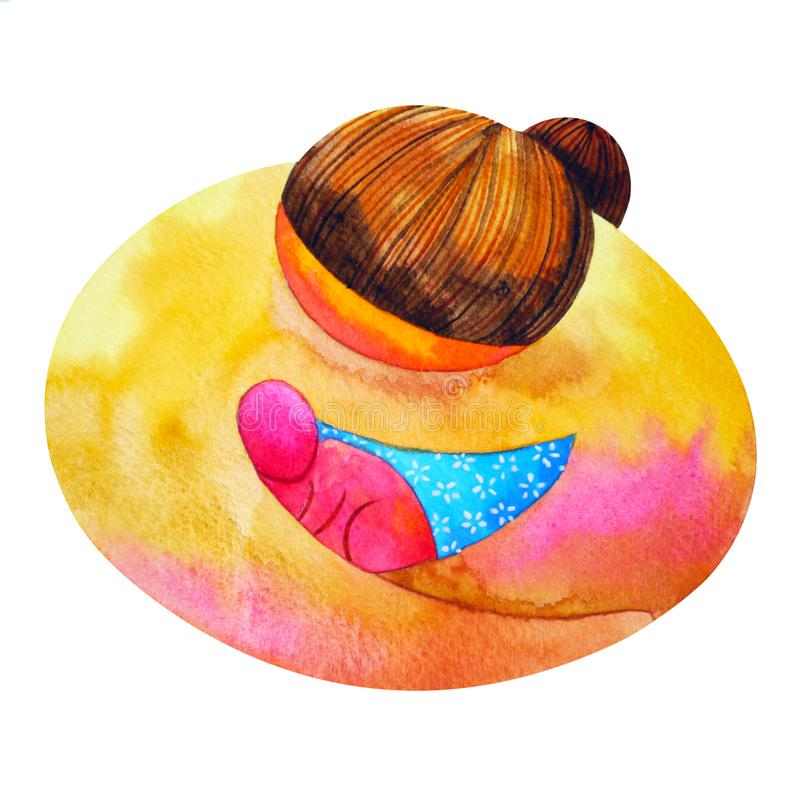 Mom and baby love hug watercolor painting illustration design royalty free stock images