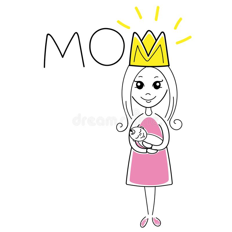 Super mama. Mom and baby vector illustration. Motherhood. stock images