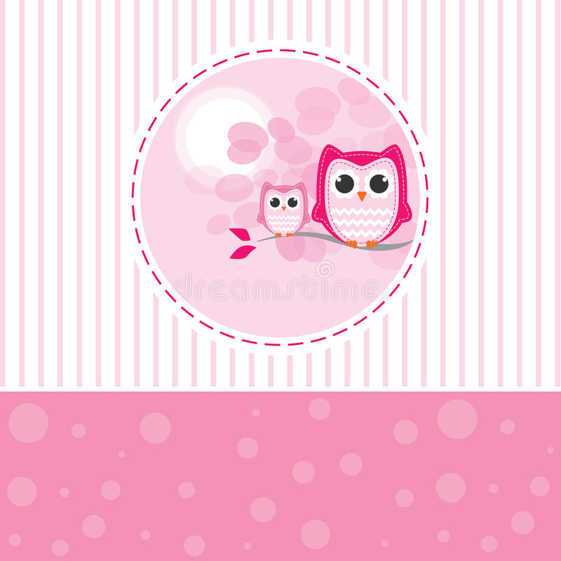 Mom and Baby Owl on a branch vector illustration
