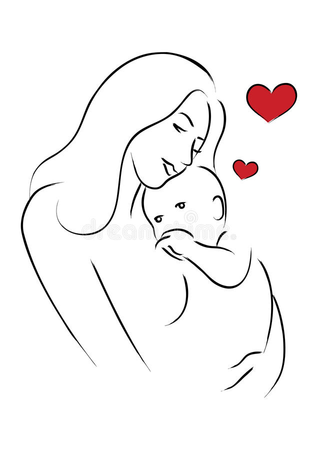 Line Art Baby : Mom and baby stock vector illustration of heart simple