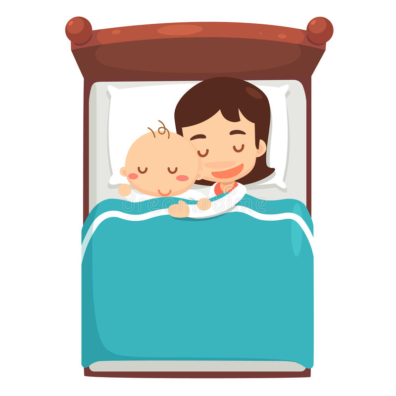Mom and baby are sleeping on bed. vector illustration