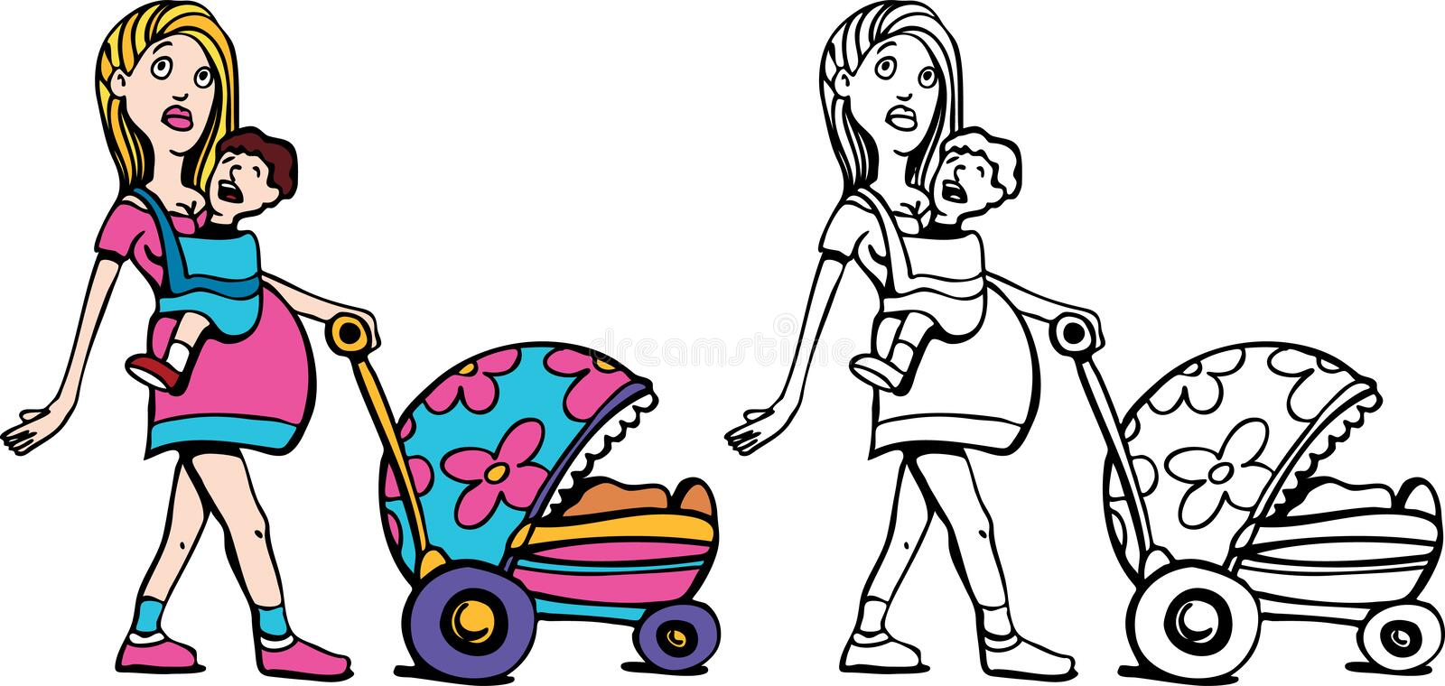 Mom with Baby and Stroller royalty free illustration