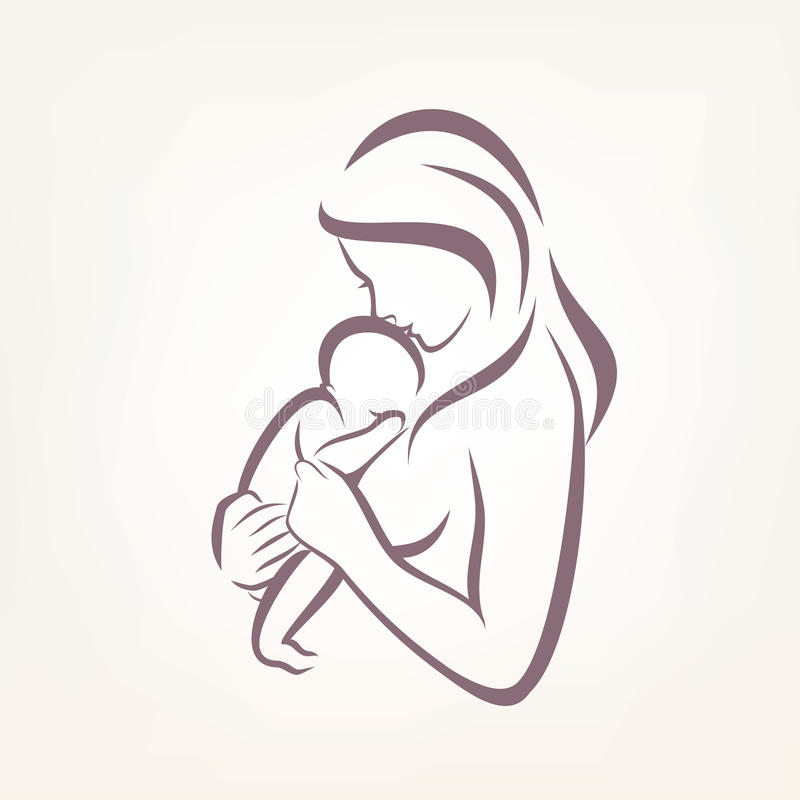 Mom and baby stylized vector symbol. Outlined sketch royalty free illustration