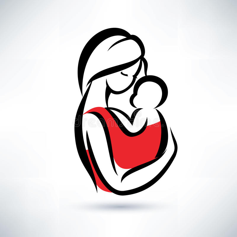 Mom and baby symbol vector illustration