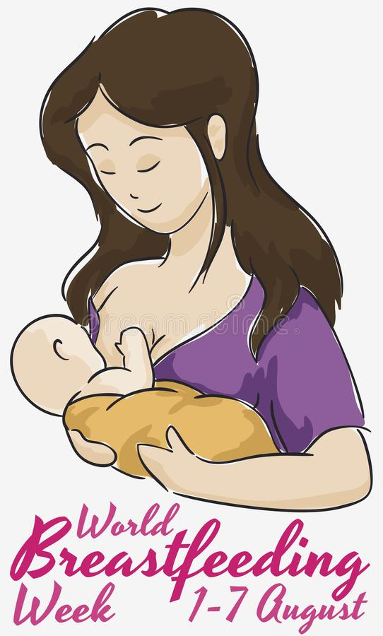 Mom with Baby in Watercolor Design for World Breastfeeding Week, Vector Illustration. Commemorative poster with tender mother feeding her baby in watercolor royalty free illustration