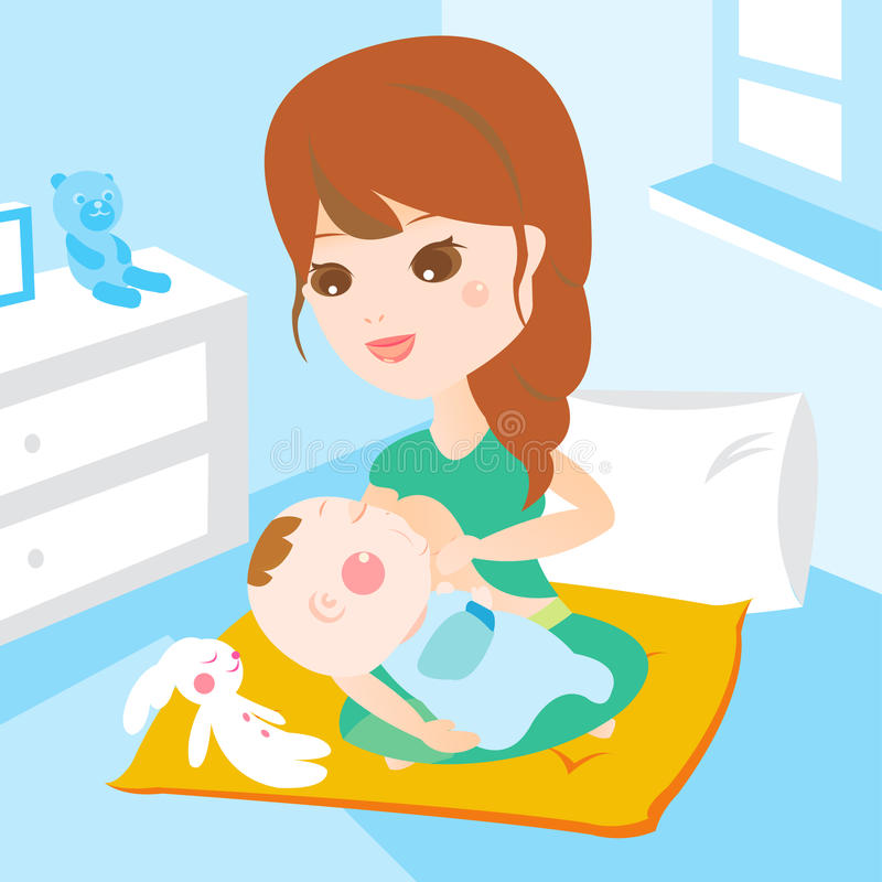 Mom breast feeding baby stock illustration