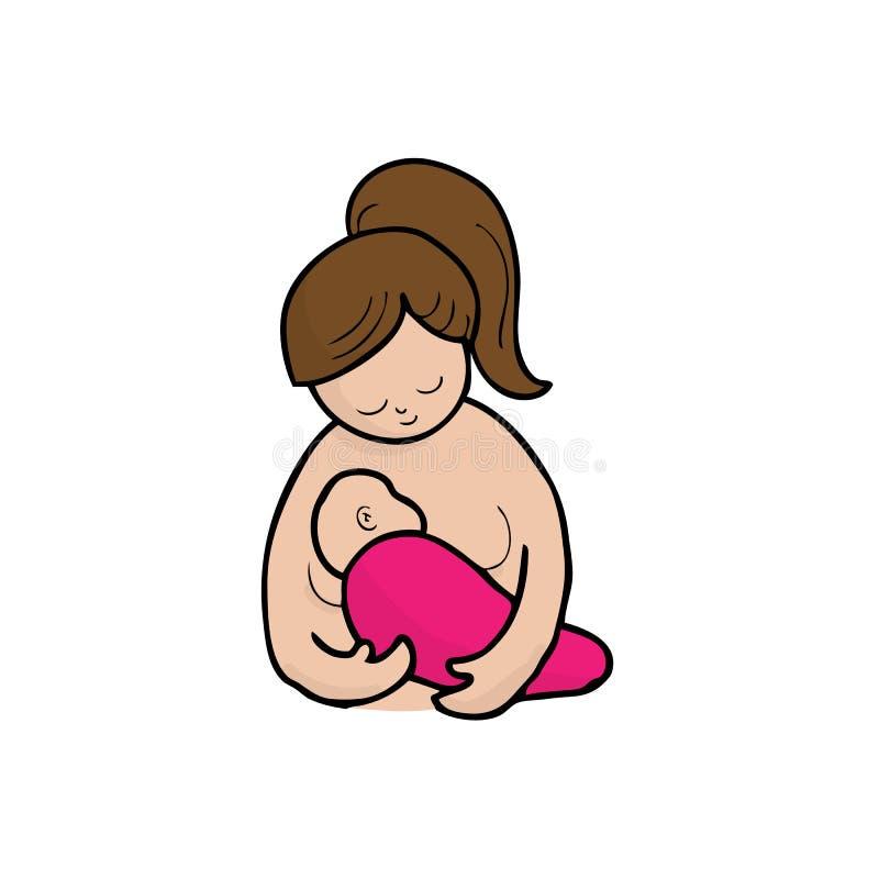 Mom breast feeding. Baby cartoon vector stock illustration