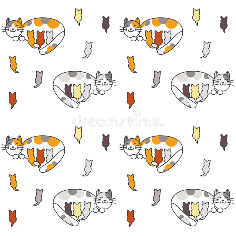 Mom Cat And Many Kittens Seamless Pattern