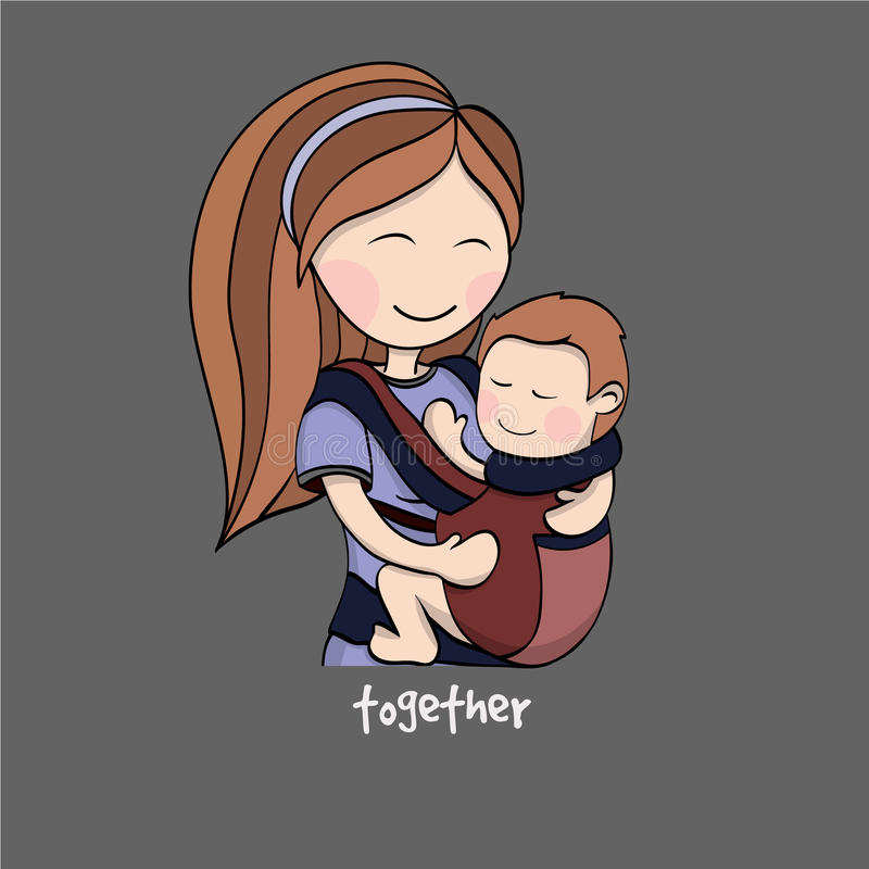 Mom with a child in a baby carrier vector illustration