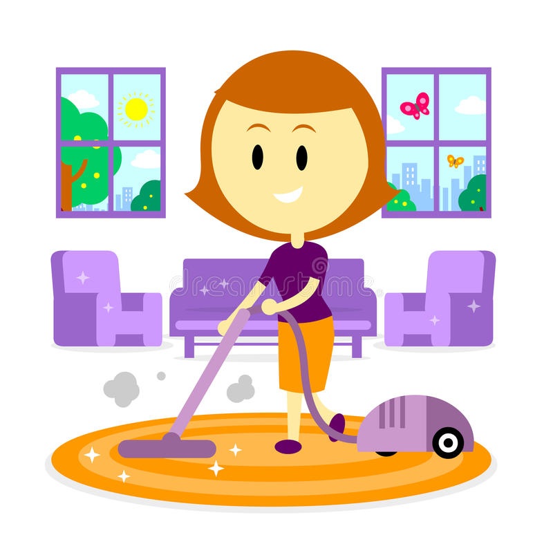 Mom Cleaning House For Spring Stock Vector Illustration