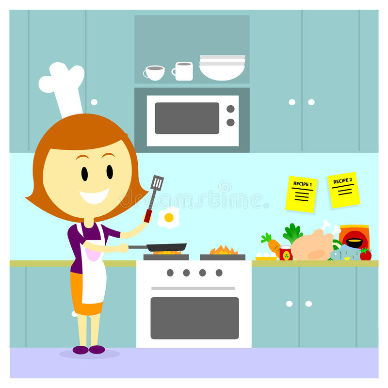 Mom cooking in the kitchen stock vector illustration of for Kitchen room cartoon images