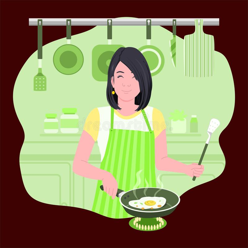 Mom Cooks Eggs For Breakfast. Cute Girls are Cooking in the Kitchen royalty free illustration