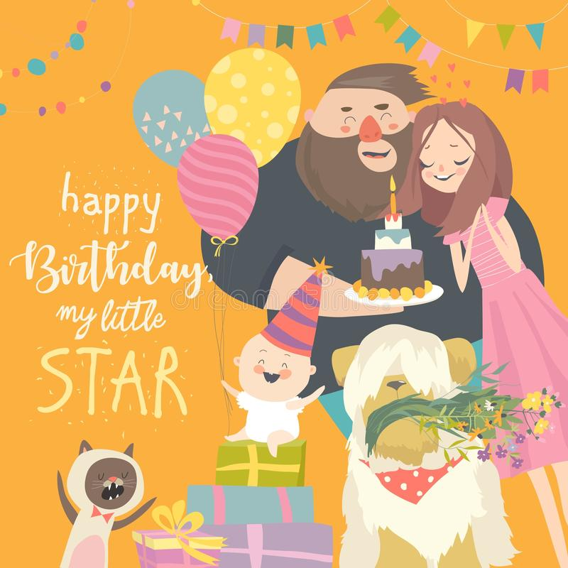 Mom and Dad celebrating their baby first birthday vector illustration