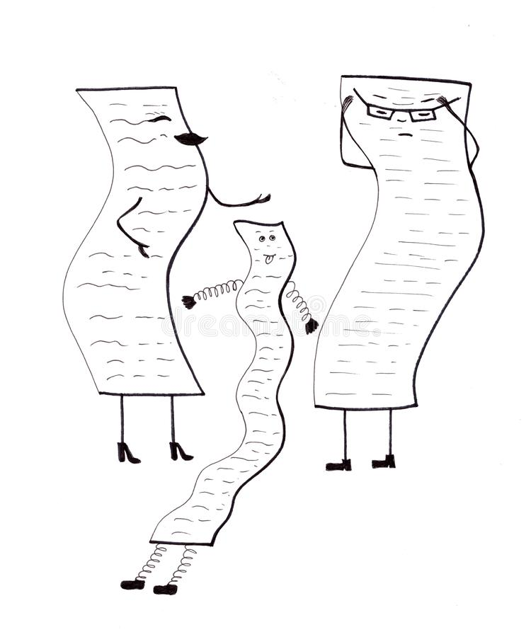 People as lists. Mom, Dad and the child as lists of cases, duties, attitudes, rules and other nonsense stock illustration