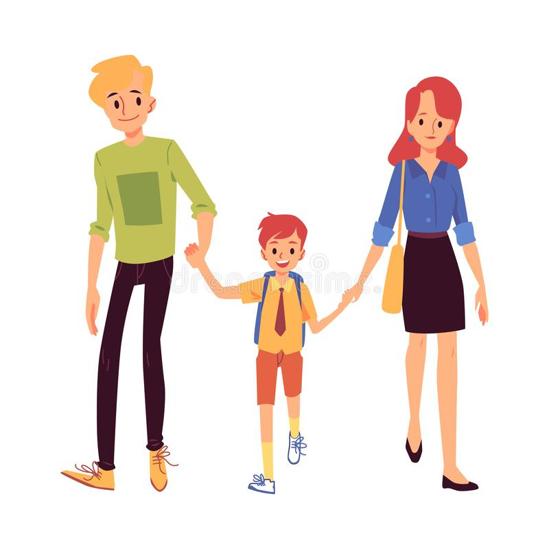 Mom and dad or parents lead his son to school flat vector illustration isolated. stock illustration
