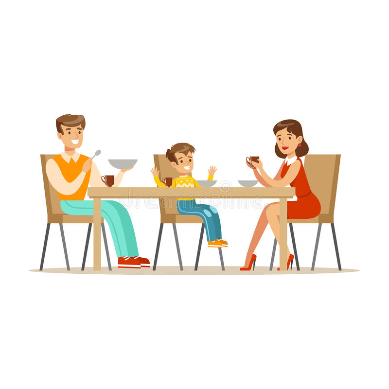 Mom, Dad And Son Having Breakfast , Happy Family Having Good Time Together Illustration royalty free illustration