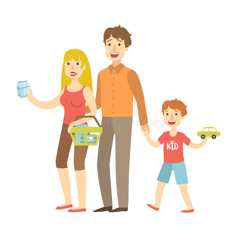 Mom, Dad And Son Holding Toy Car Shopping, Illustration From Happy Loving Families Series. Smiling Cartoon Characters Together With Their Family Members Vector stock illustration