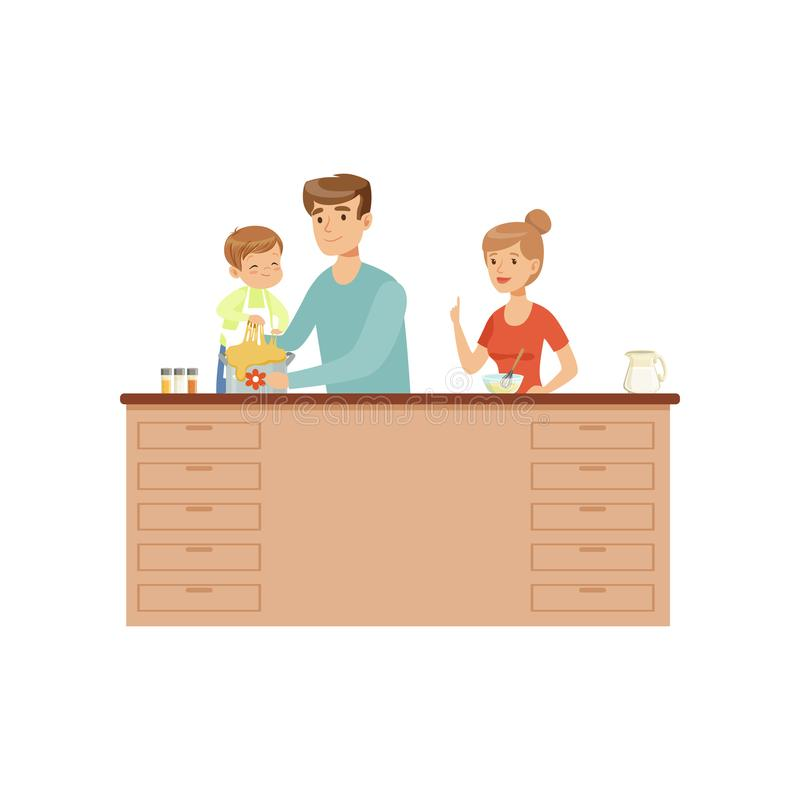 Mom, dad and their little son cooking together, happy family and parenting concept vector Illustration on a white stock illustration