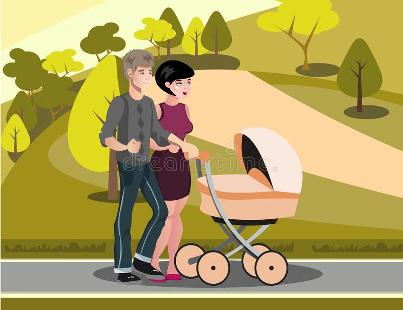 Mom and Dad are walking with baby. vector illustration