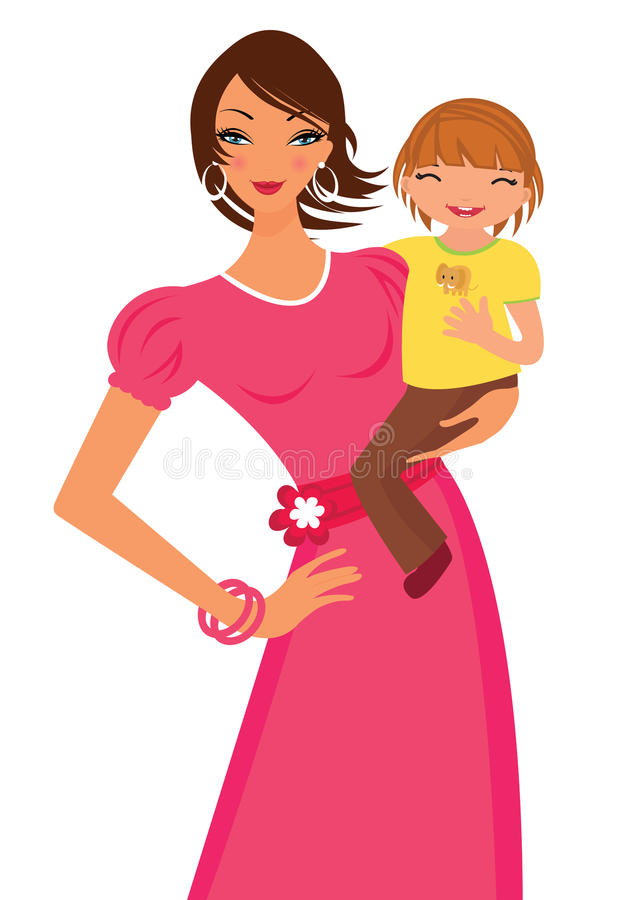 Mom and daughter royalty free illustration