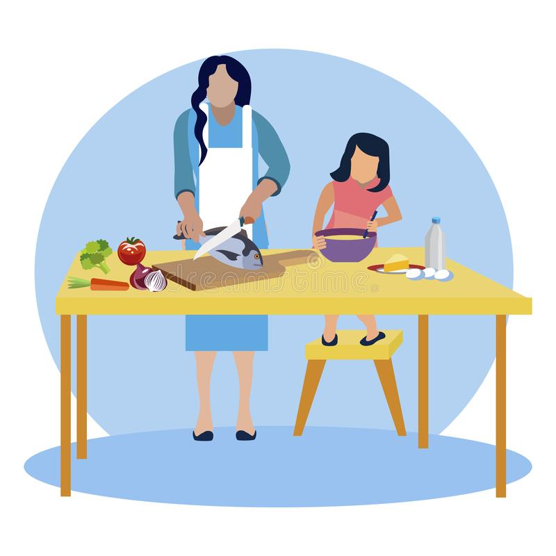 Mom and daughter cook in kitchen vector stock illustration