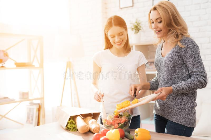 Mom and daughter are cooking together in the kitchen. stock photos