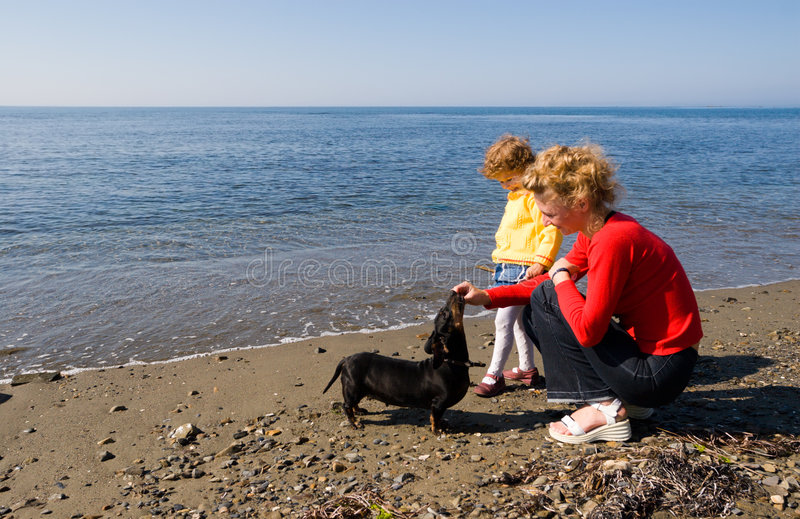 Mom.daughter.dog. royalty free stock images