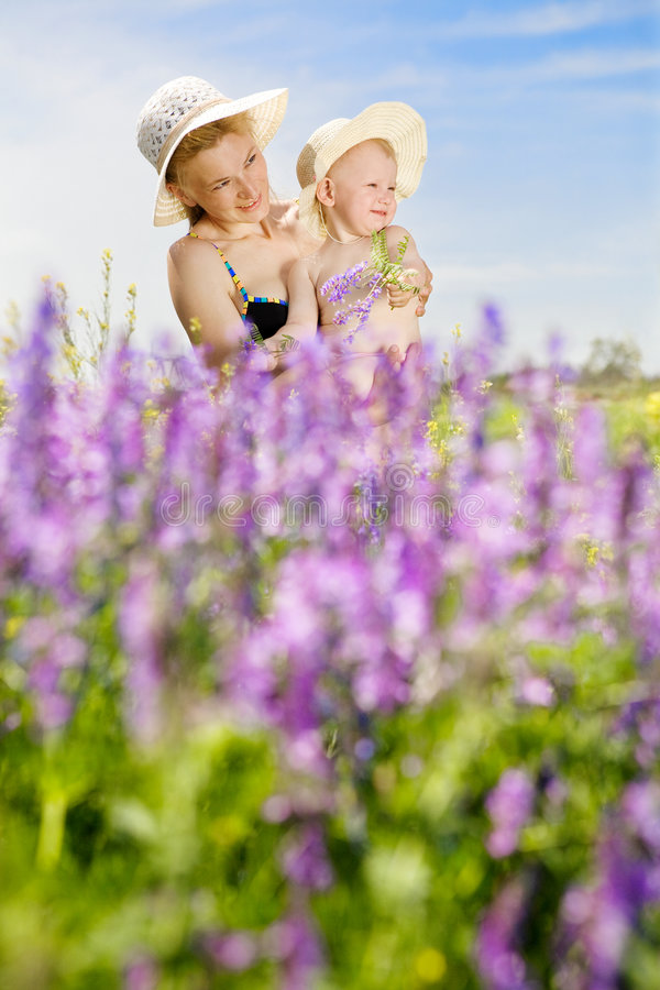 Mom and daughter with flowers