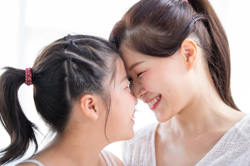 Mom and daughter gaze toghether royalty free stock photo