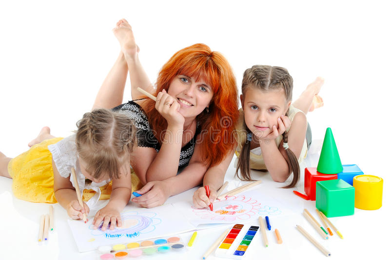 Download Mom and daughter painted stock image. Image of concentration - 15540417