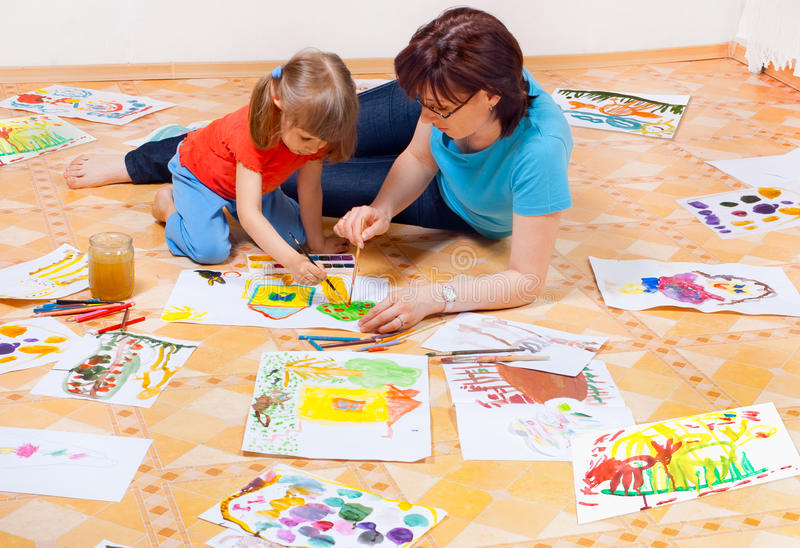 Download Mom and daughter painted stock photo. Image of paint - 19389384