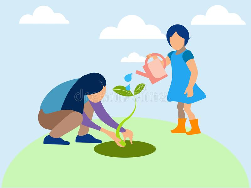 Mom and daughter planted a plant, agronomy. In minimalist style. Flat isometric raster. Illustration royalty free illustration
