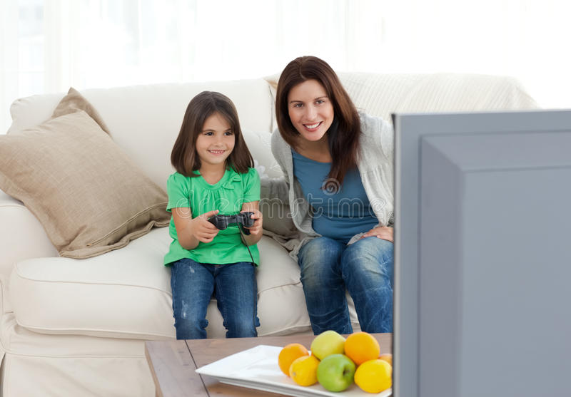 Download Mom And Daughter Playing Video Games Together Stock Image - Image: 17469369