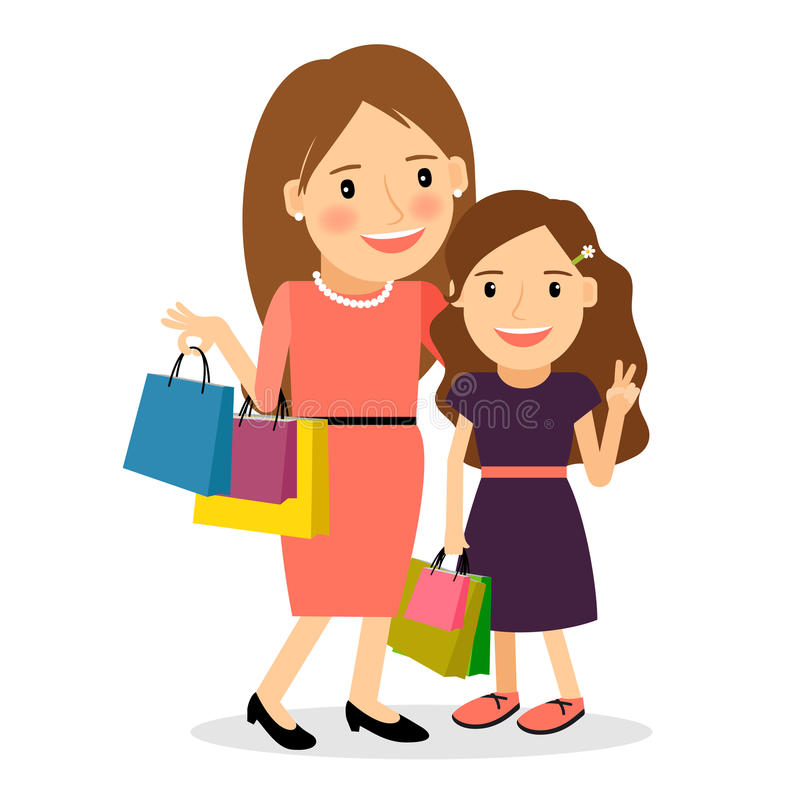 Mom And Daughter Shopping Day Stock Vector
