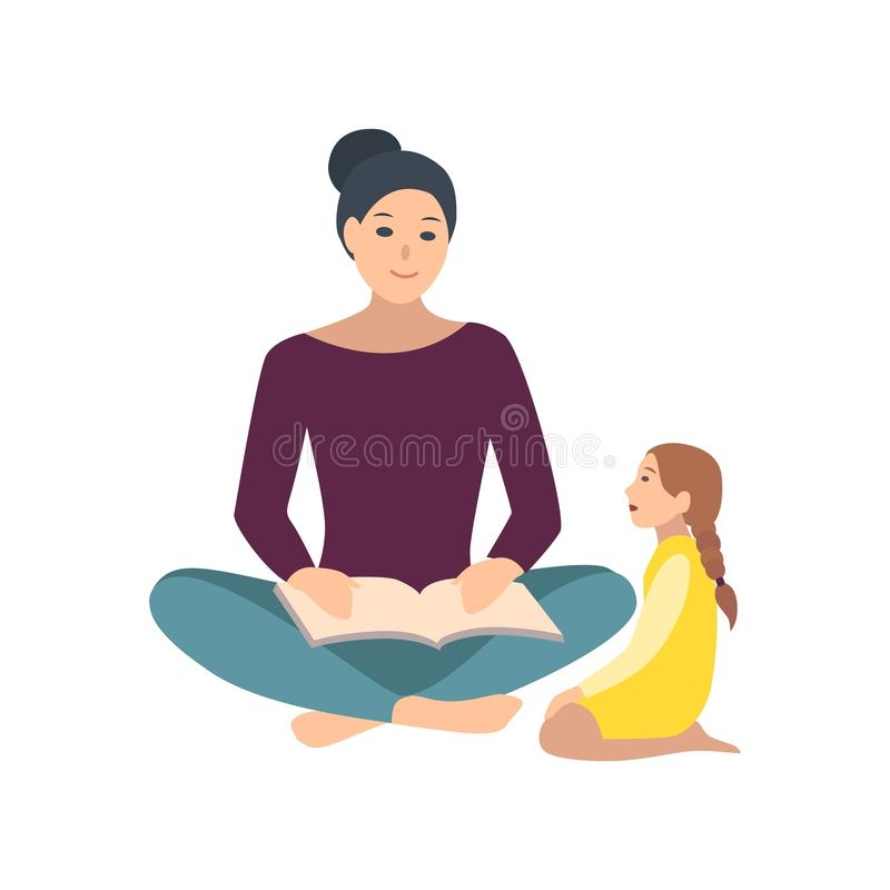 Mom and daughter sitting on floor and reading book together. Mother telling fairy tale her little girl. Adorable cartoon stock illustration