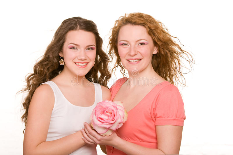 Mom and daughter, smiling royalty free stock images